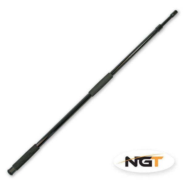 Extra pevná, přitom lehká teleskopická tyč k podběráku vyrobená z laminátu.  Kovový závit pro našroubování kříže podběráku. Neoprenové držáky tyče pro příjemnější manipulaci. Délka 2m.Transportní délka je 100cm.