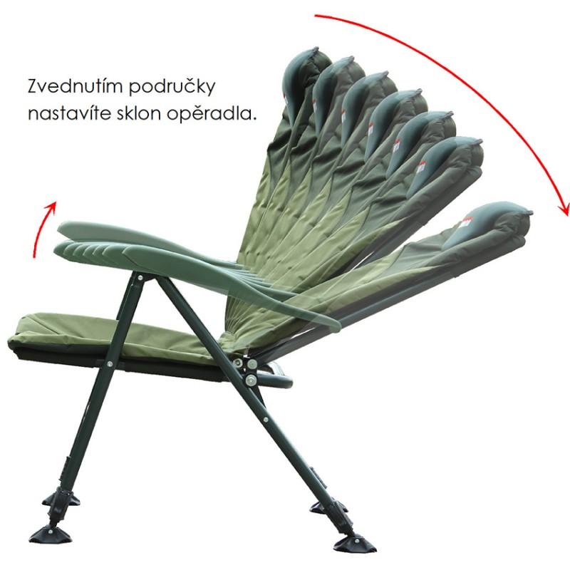 Pohodlné a exkluzivní rybářské křeslo s anatomicky tvarovanou matrací. Opěradlo má pohodlný polštář a na bocích matrace je lem, chránící před větrem a zimou. Pevné područky slouží k naklápění opěradla při jejich nadzdvižení (8 poloh).