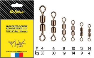 Obratlík Delphin Hi speed double rolling swivel - BN 10 / 14kg / 10ks